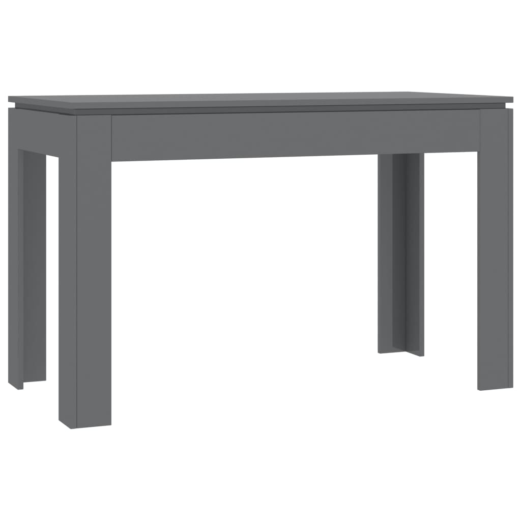 Dining Table High Gloss Grey 120x60x76 cm Chipboard 2