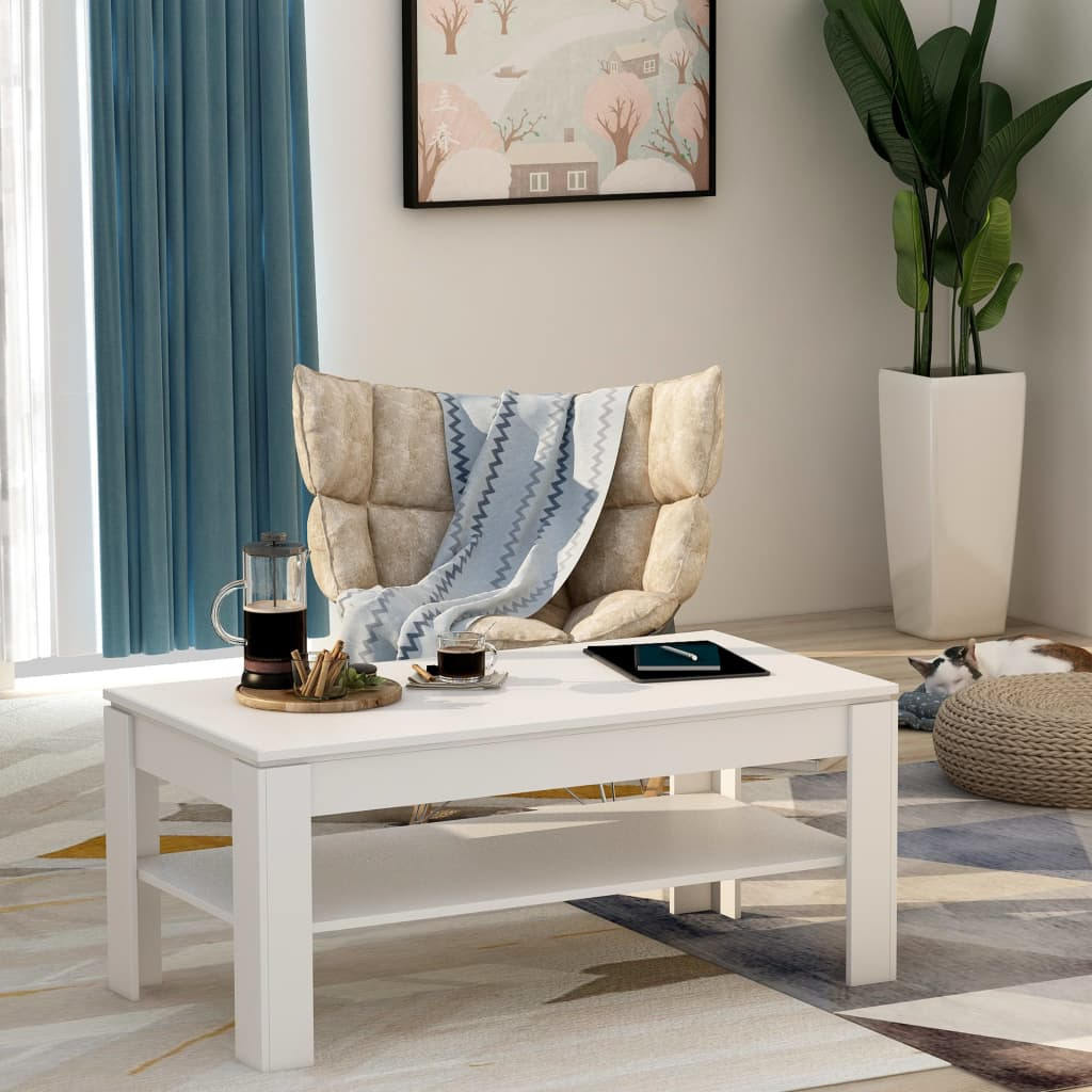 Coffee Table White 110x60x47 cm Chipboard