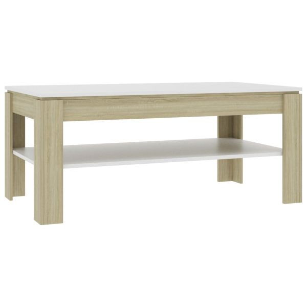 Coffee Table White and Sonoma Oak 110x60x47 cm Chipboard 2
