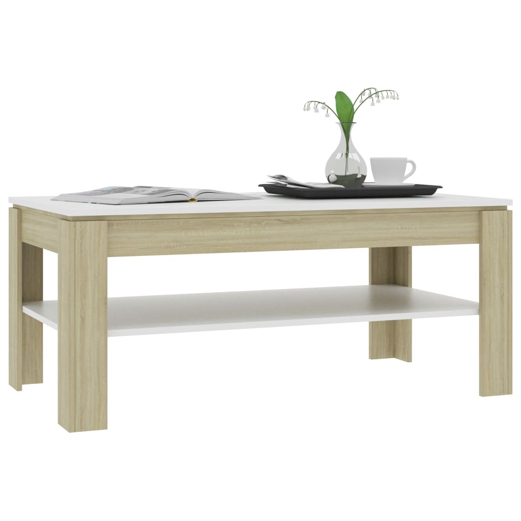 Coffee Table White and Sonoma Oak 110x60x47 cm Chipboard 4