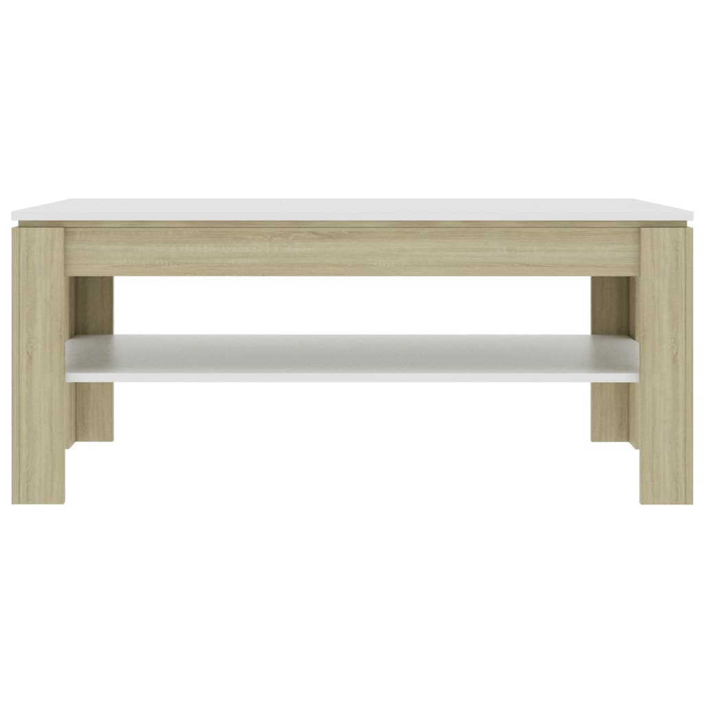 Coffee Table White and Sonoma Oak 110x60x47 cm Chipboard 5