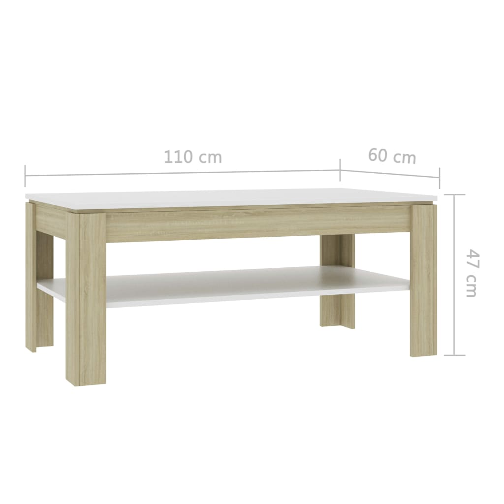 Coffee Table White and Sonoma Oak 110x60x47 cm Chipboard 6