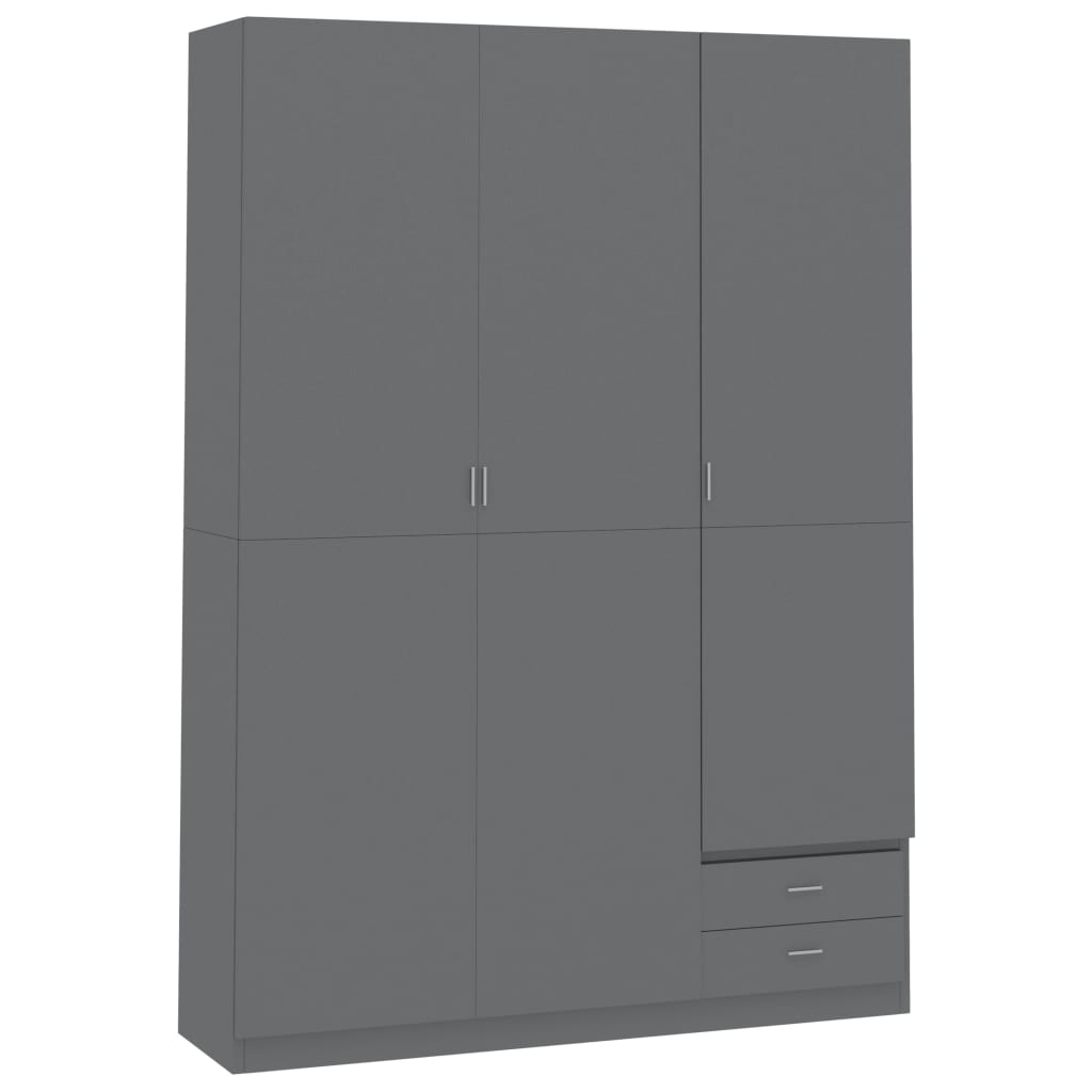 3-Door Wardrobe High Gloss Grey 120x50x180 cm Chipboard 2