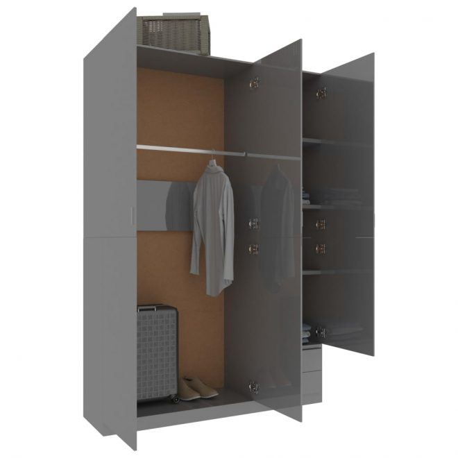 3-Door Wardrobe High Gloss Grey 120x50x180 cm Chipboard 3