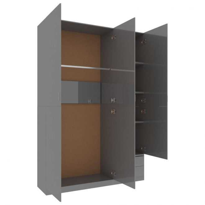 3-Door Wardrobe High Gloss Grey 120x50x180 cm Chipboard 4