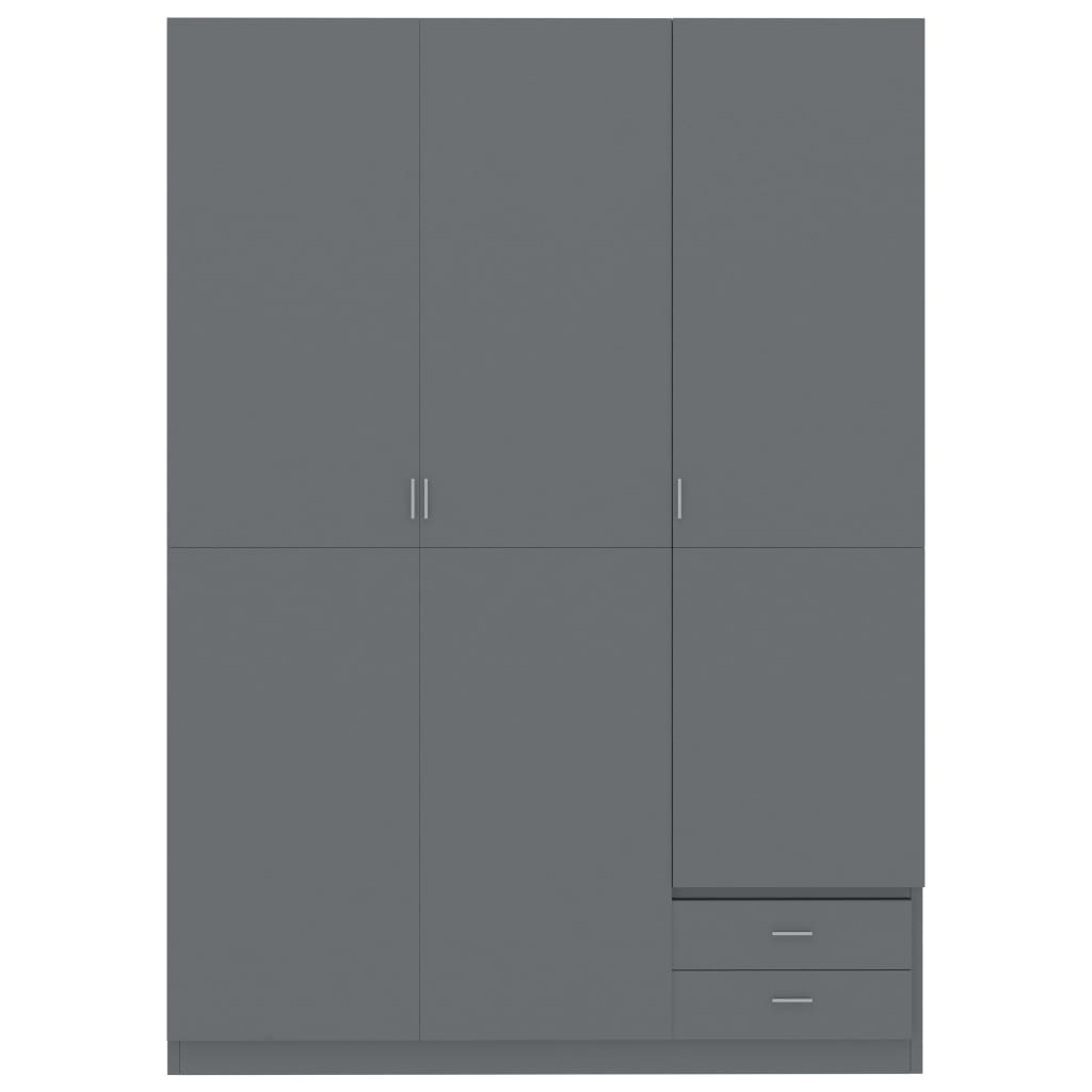 3-Door Wardrobe High Gloss Grey 120x50x180 cm Chipboard 5