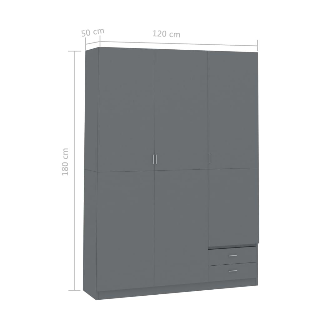 3-Door Wardrobe High Gloss Grey 120x50x180 cm Chipboard 7