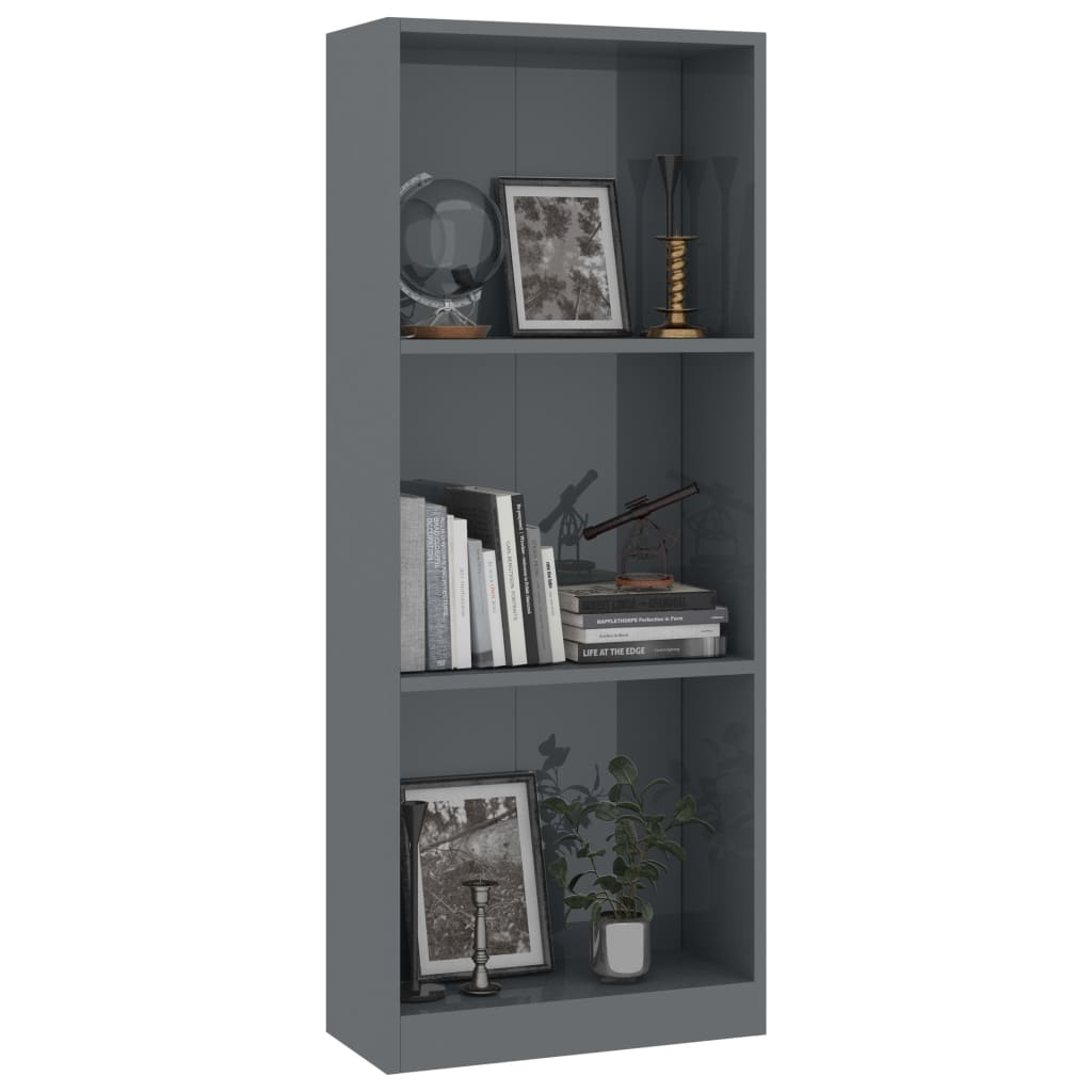 3-Tier Book Cabinet High Gloss Grey 40x24x108 cm Chipboard 3
