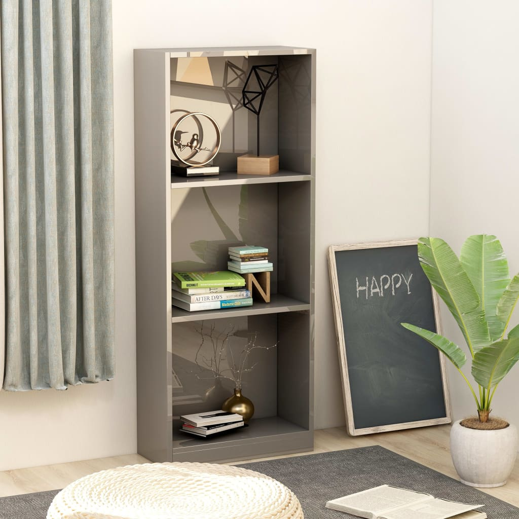 3-Tier Book Cabinet High Gloss Grey 40x24x108 cm Chipboard 1