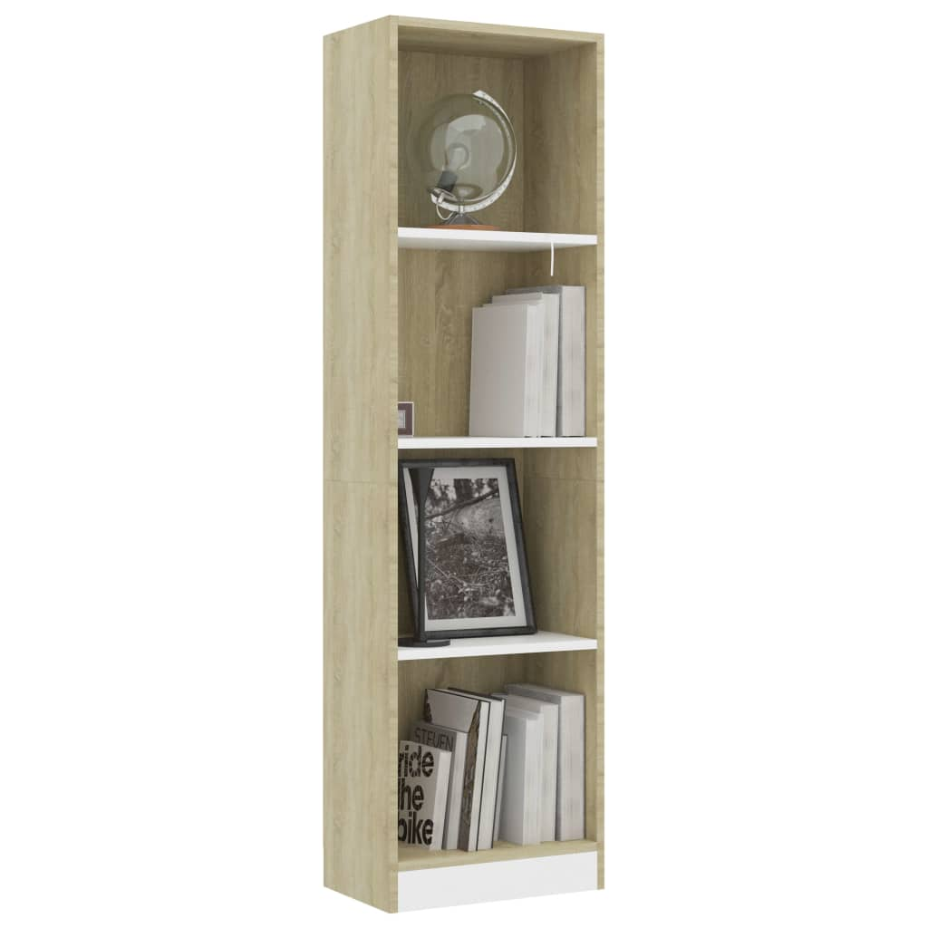 4-Tier Book Cabinet White and Sonoma Oak 40x24x142 cm Chipboard 3