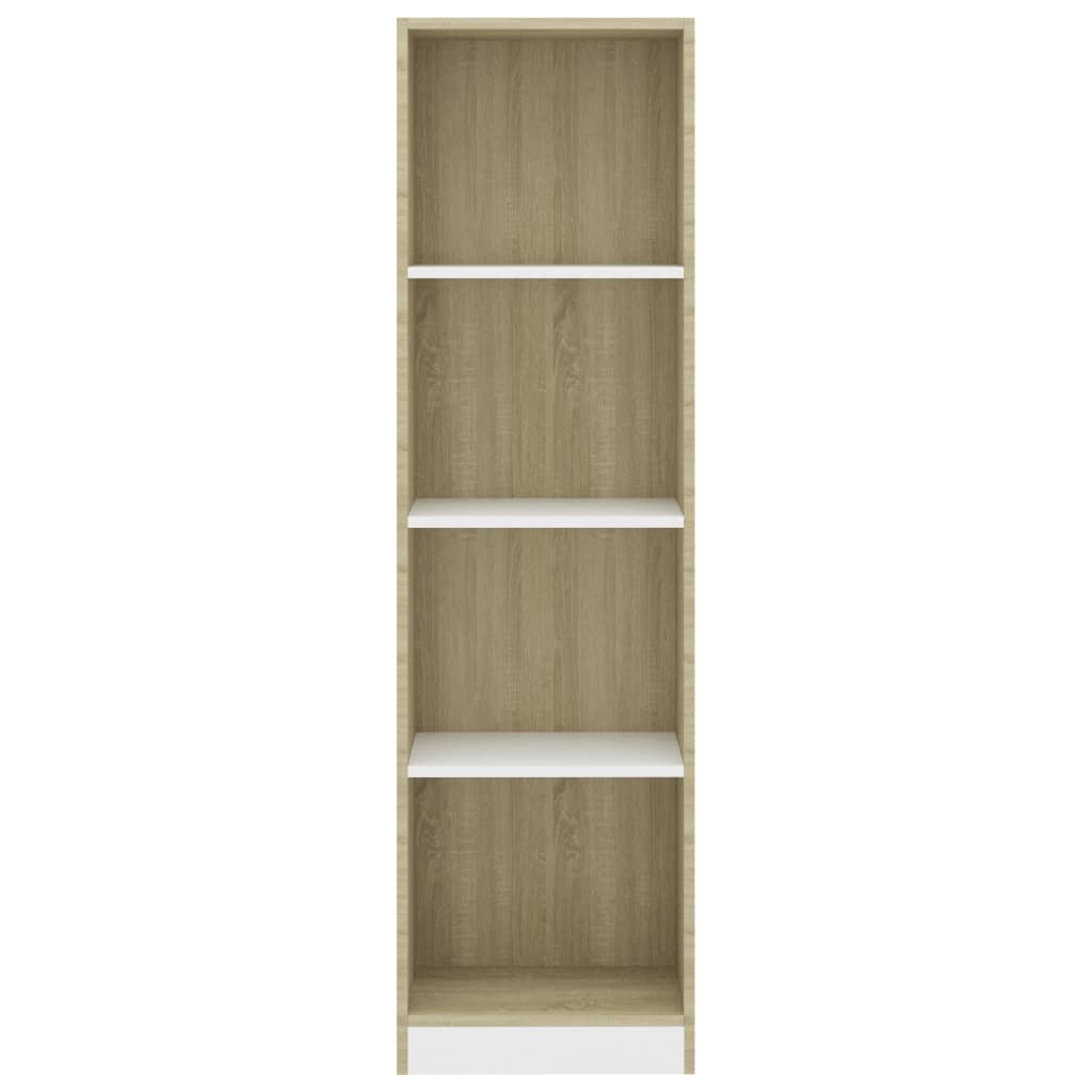 4-Tier Book Cabinet White and Sonoma Oak 40x24x142 cm Chipboard 4