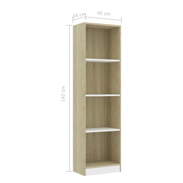 4-Tier Book Cabinet White and Sonoma Oak 40x24x142 cm Chipboard 6