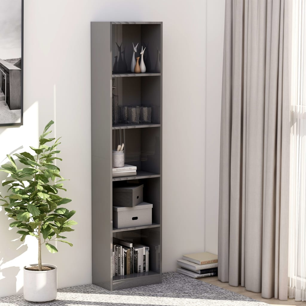 5-Tier Book Cabinet High Gloss Grey 40x24x175 cm Chipboard