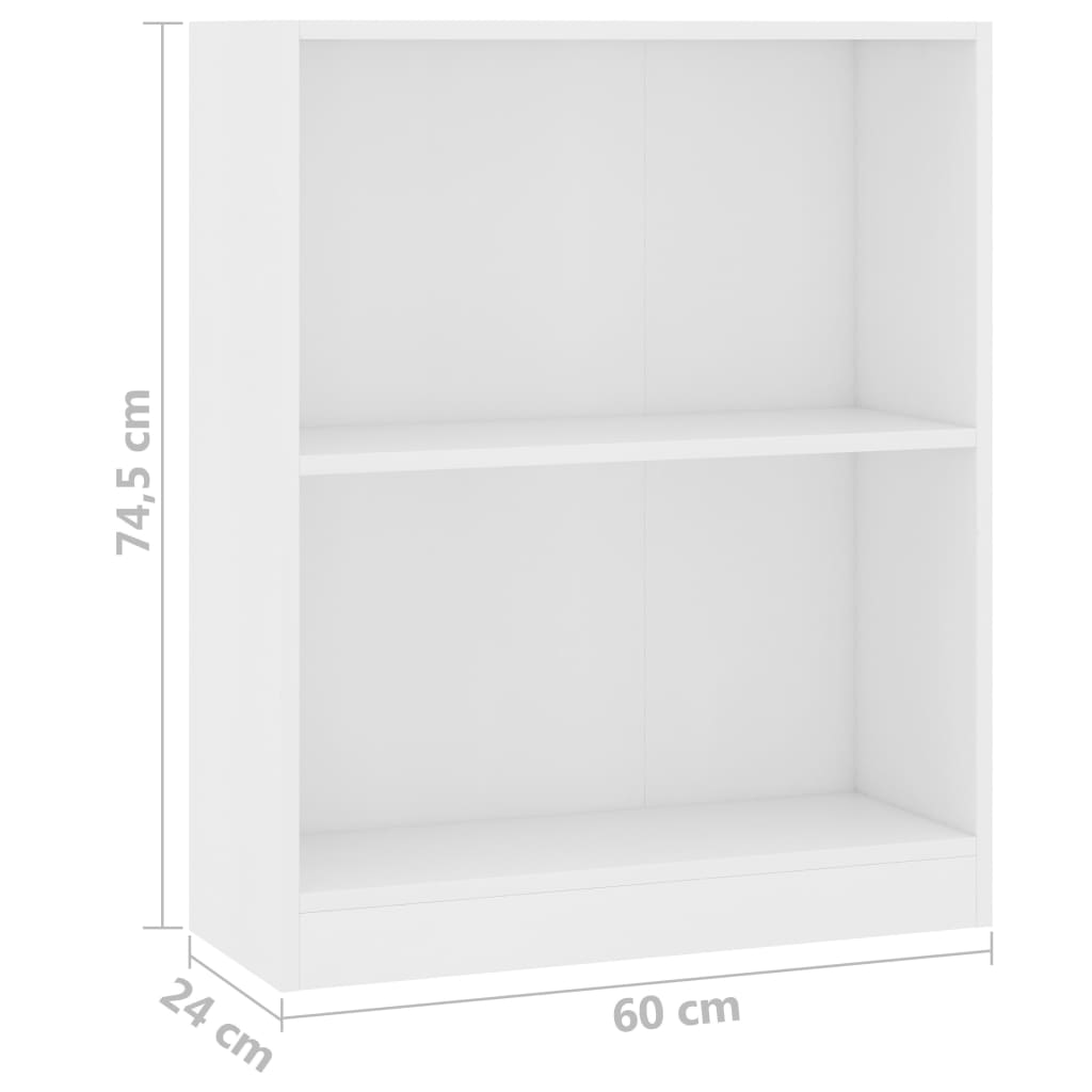 Bookshelf White 60x24x74,5 cm Chipboard 6