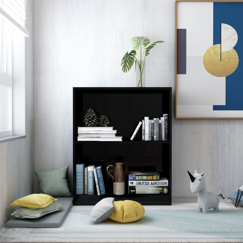 Bookshelf High Gloss Black 60x24x74.5 cm Chipboard