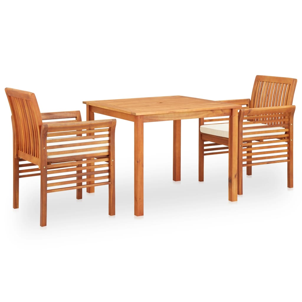 3 Piece Outdoor Dining Set with Cushions Solid Acacia Wood