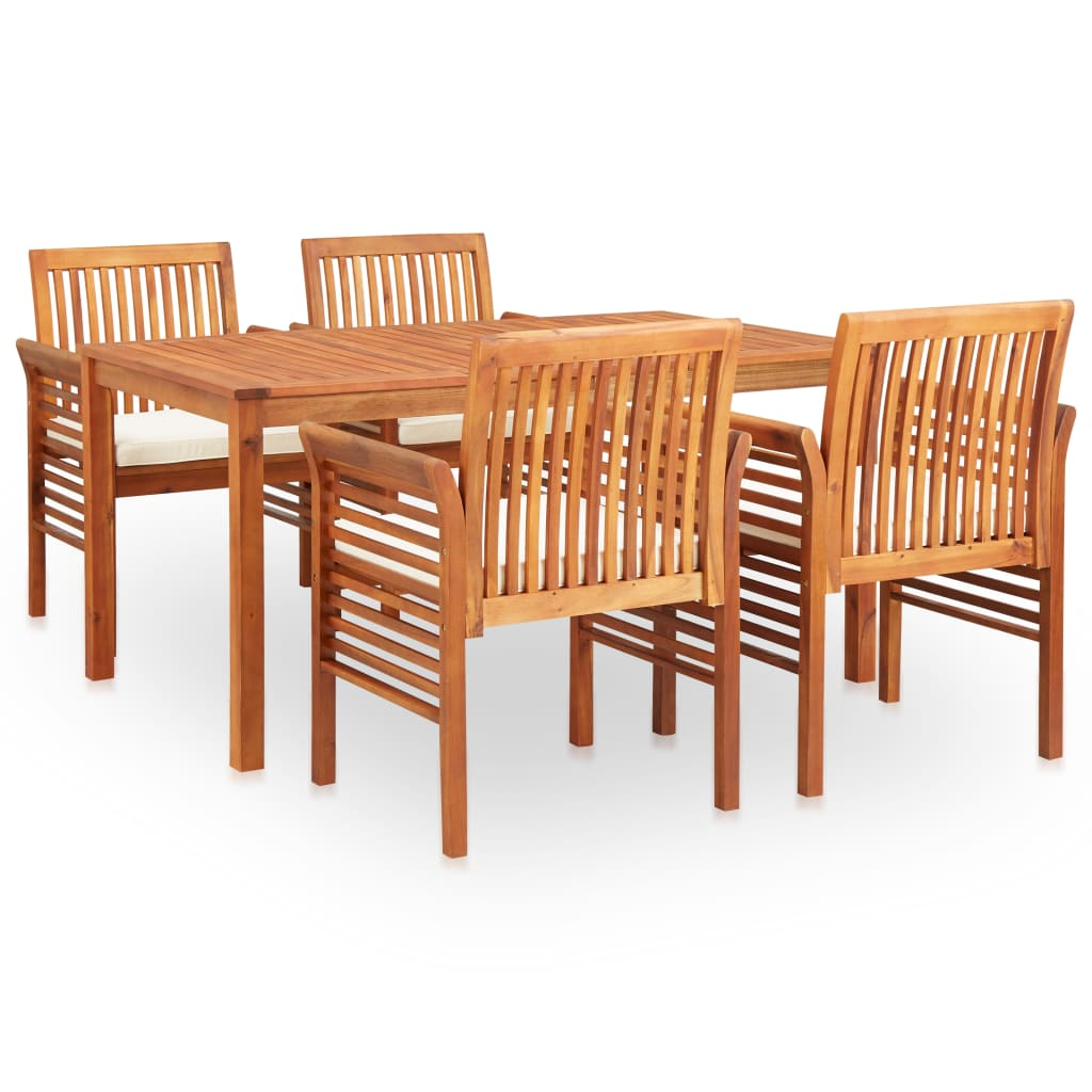 5 Piece Outdoor Dining Set with Cushions Solid Acacia Wood 1