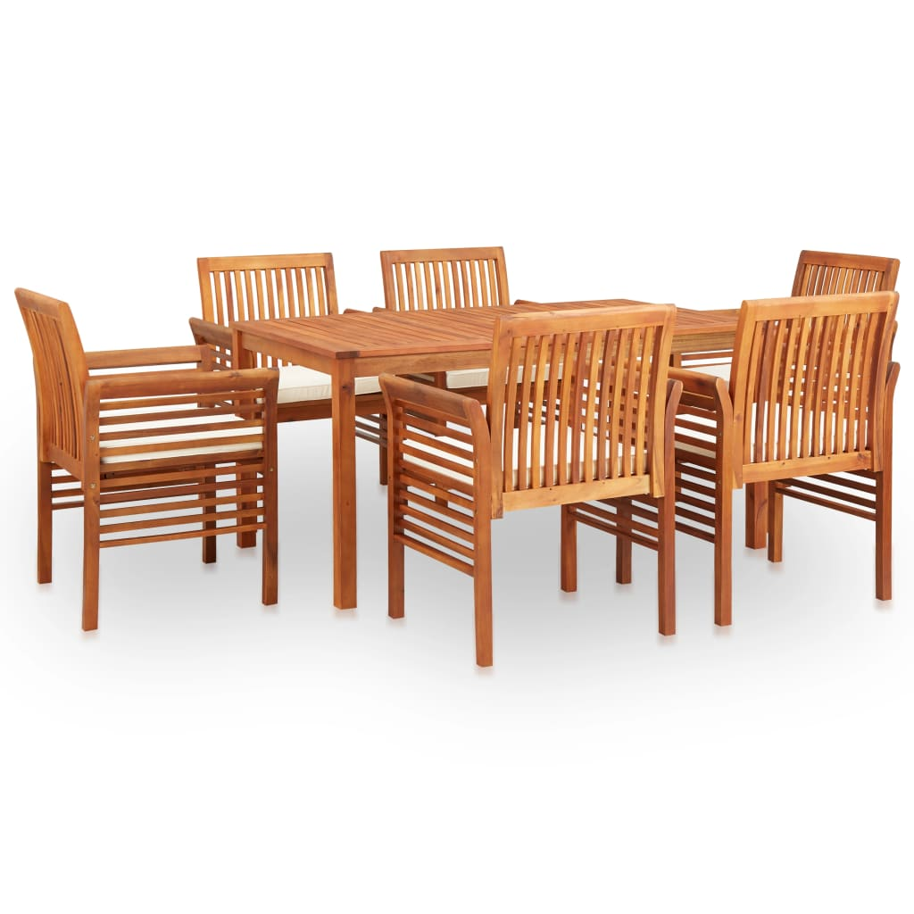 7 Piece Outdoor Dining Set with Cushions Solid Acacia Wood 1