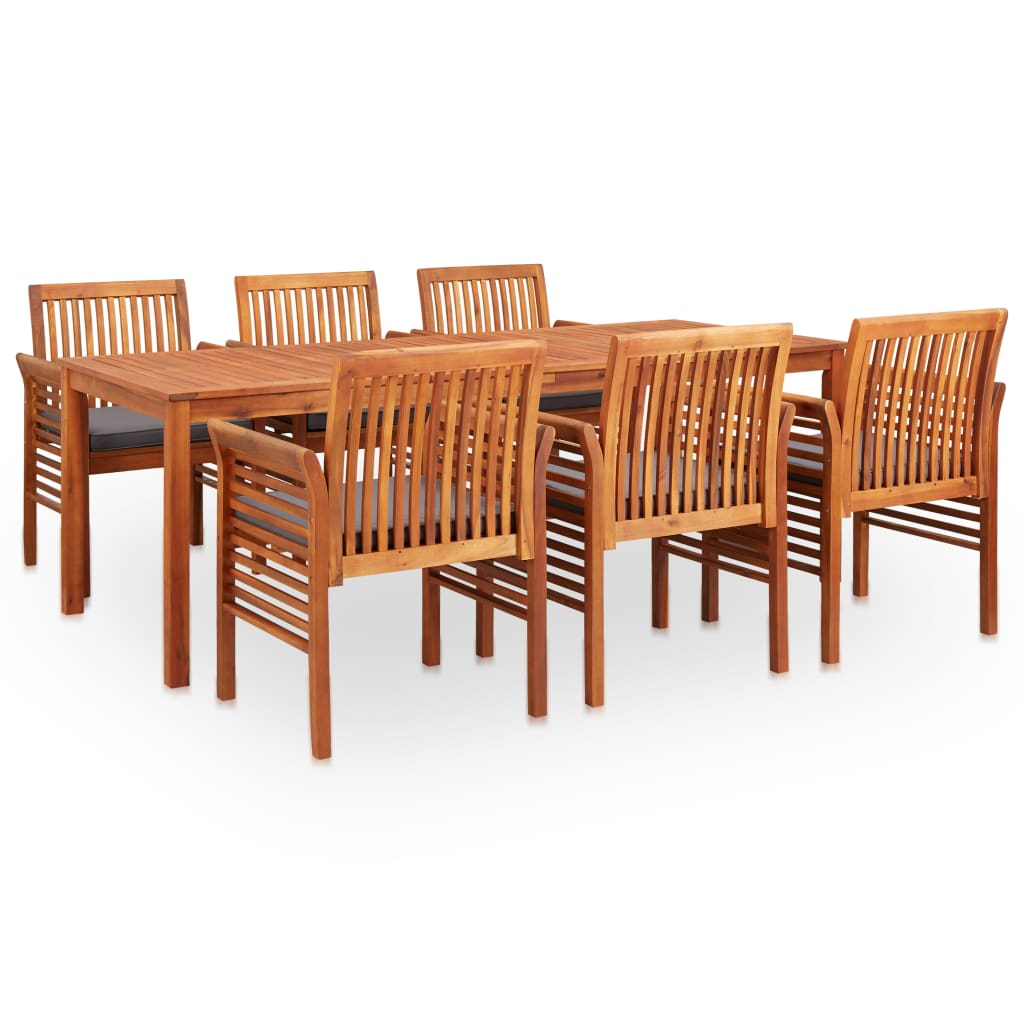 7 Piece Outdoor Dining Set with Cushions Solid Acacia Wood