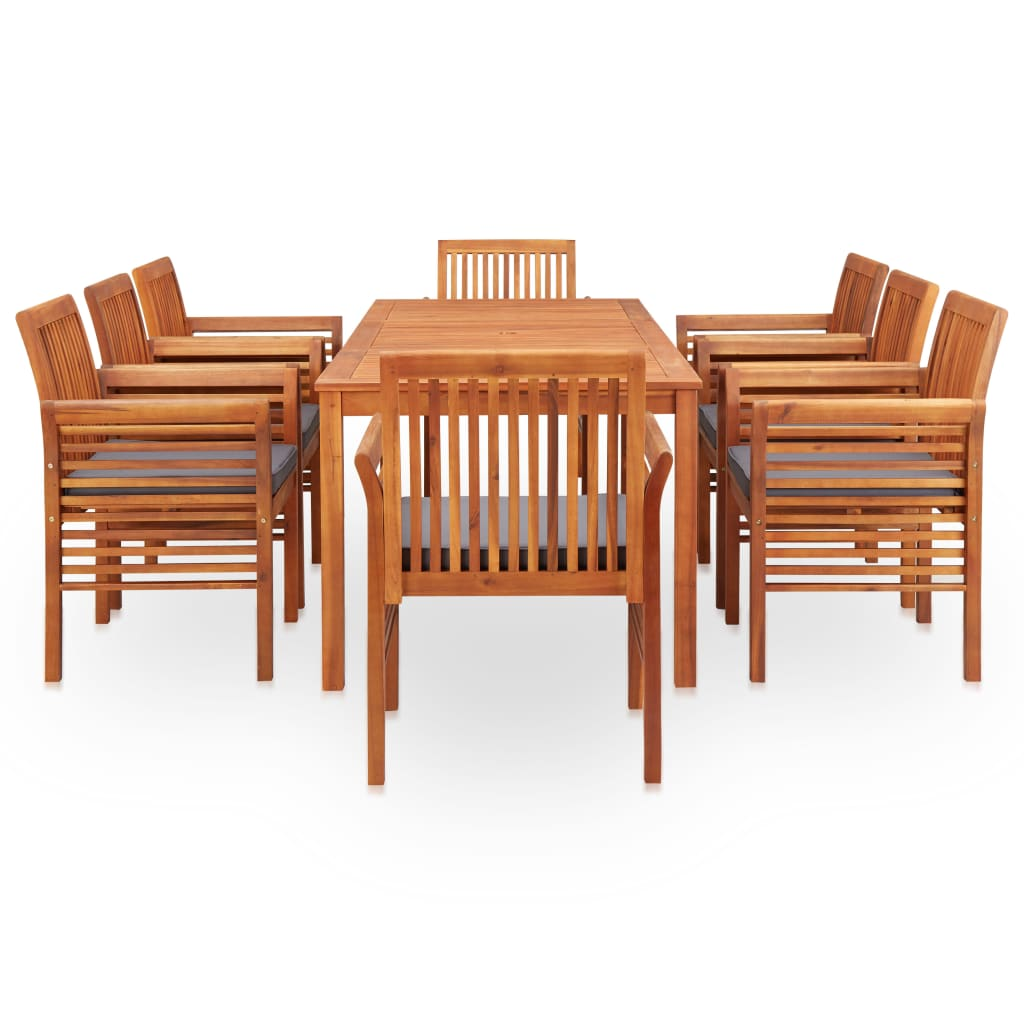 9 Piece Outdoor Dining Set with Cushions Solid Acacia Wood 3