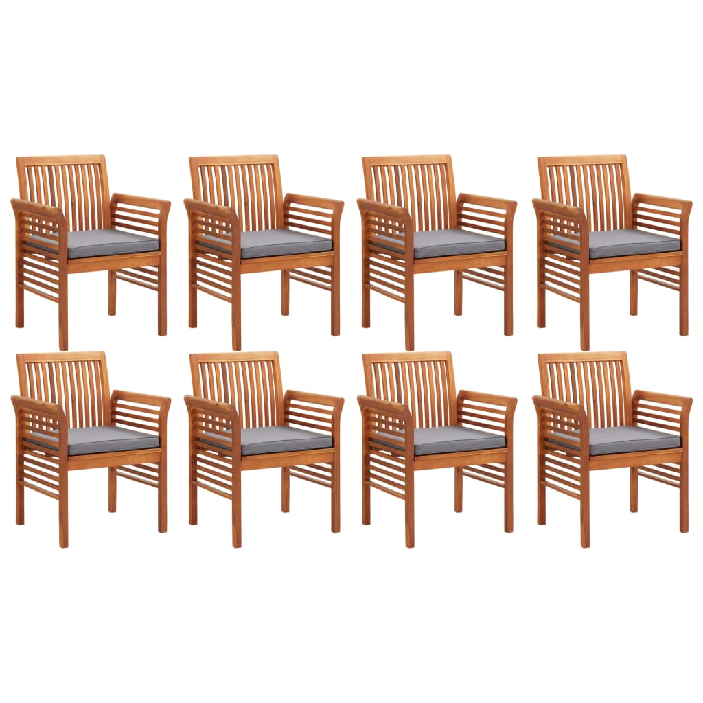 9 Piece Outdoor Dining Set with Cushions Solid Acacia Wood 4