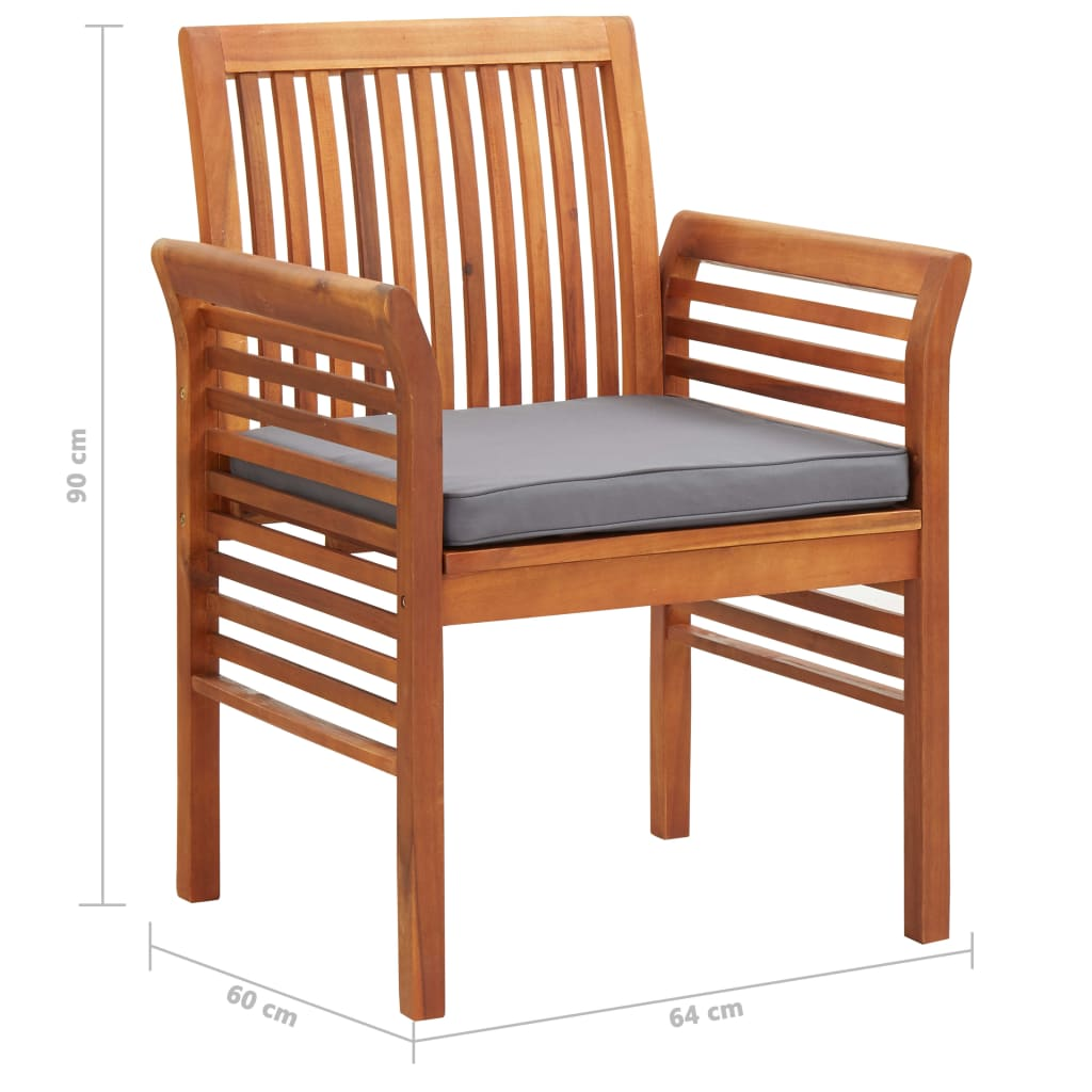 9 Piece Outdoor Dining Set with Cushions Solid Acacia Wood 9