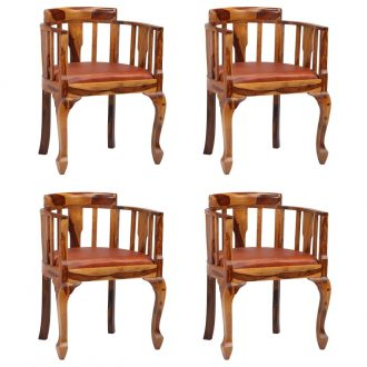 Dining Chairs 4 pcs Real Leather and Solid Sheesham Wood 1