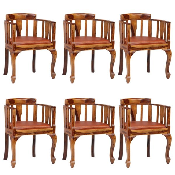 Dining Chairs 6 pcs Real Leather and Solid Sheesham Wood 1