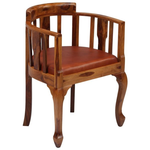 Dining Chairs 6 pcs Real Leather and Solid Sheesham Wood 2