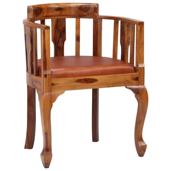 Dining Chairs 6 pcs Real Leather and Solid Sheesham Wood 3