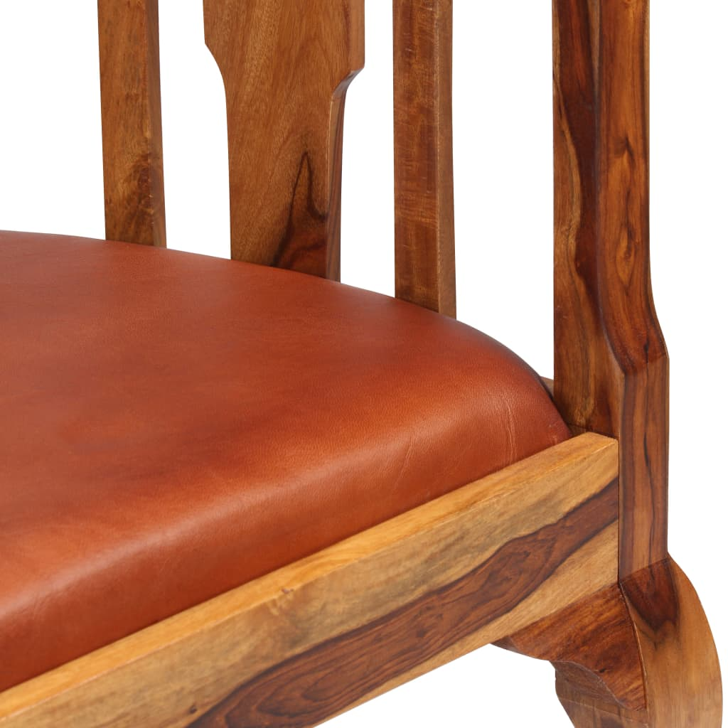 Dining Chairs 6 pcs Real Leather and Solid Sheesham Wood 7