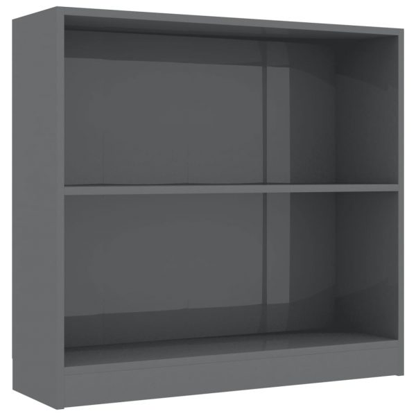Bookshelf High Gloss Grey 80x24x75 cm Chipboard 2
