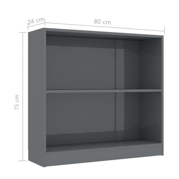 Bookshelf High Gloss Grey 80x24x75 cm Chipboard 6