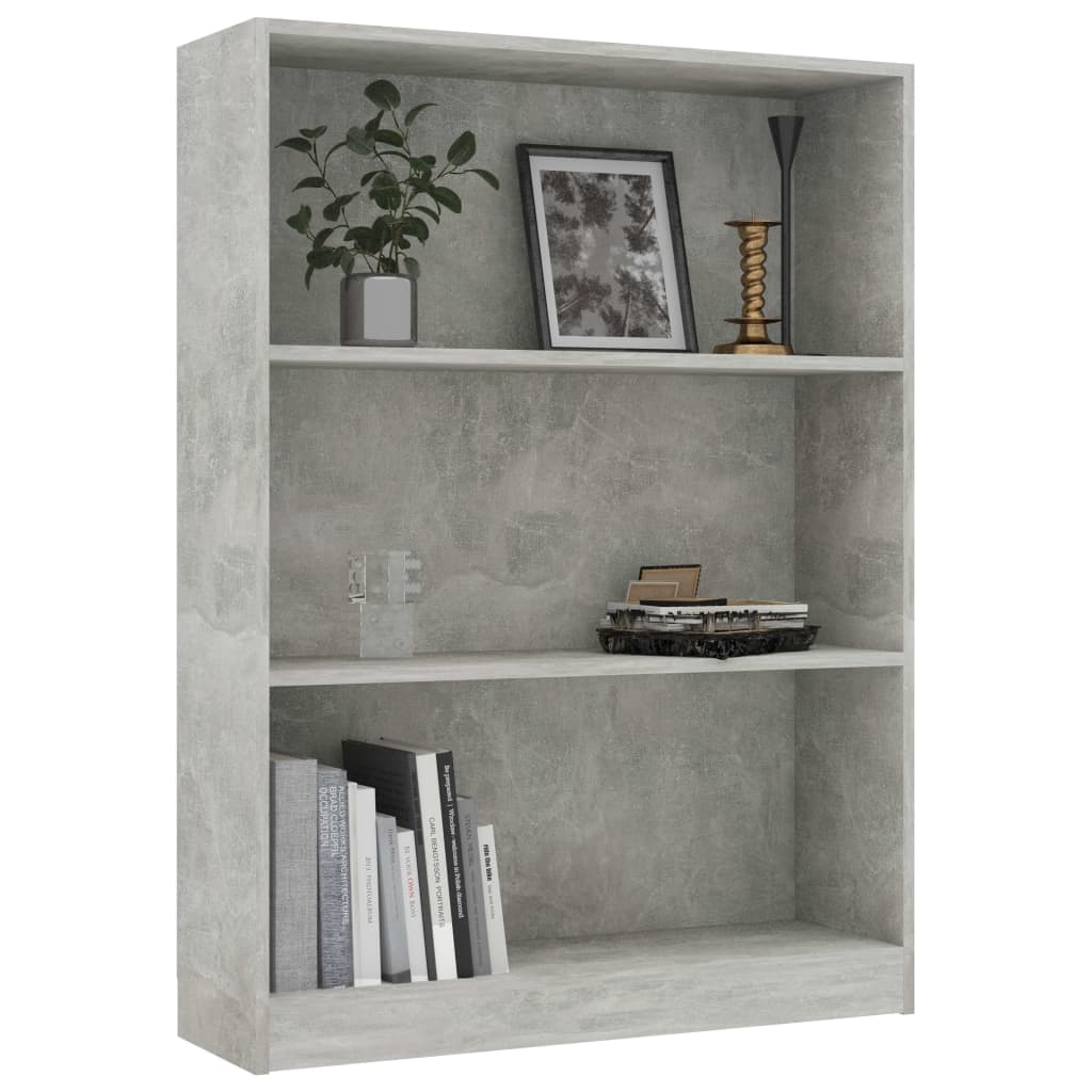 Bookshelf Concrete Grey 80x24x108 cm Chipboard 3