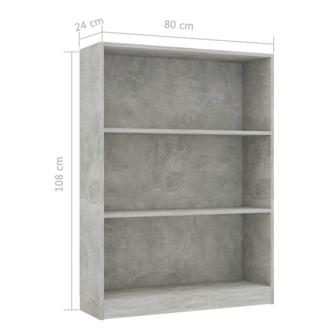 Bookshelf Concrete Grey 80x24x108 cm Chipboard 6