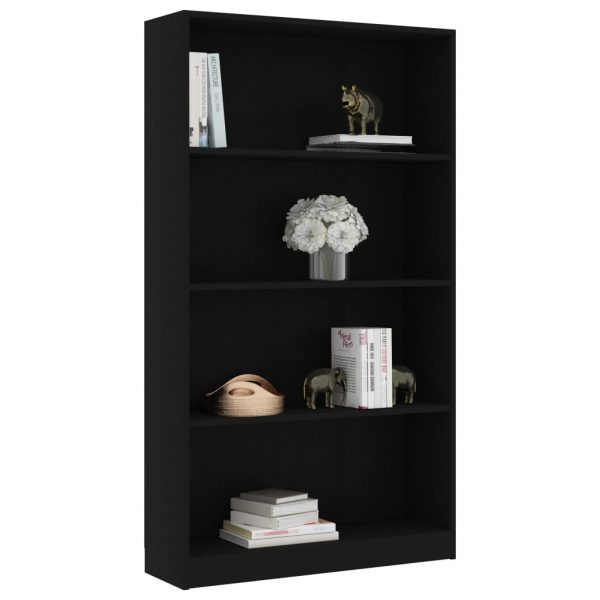 4-Tier Book Cabinet Black 80x24x142 cm Chipboard 3
