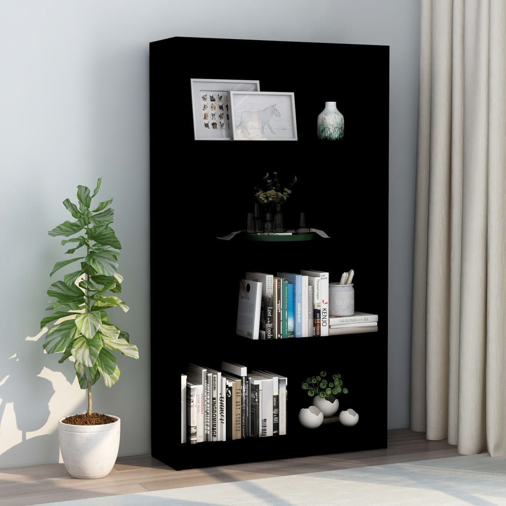 4-Tier Book Cabinet Black 80x24x142 cm Chipboard 1
