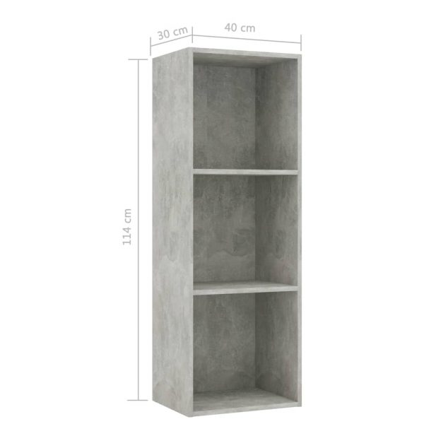 3-Tier Book Cabinet Concrete Grey 40x30x114 cm Chipboard 6