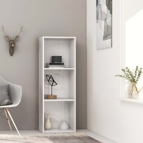 3-Tier Book Cabinet High Gloss White 40x30x114 cm Chipboard 1
