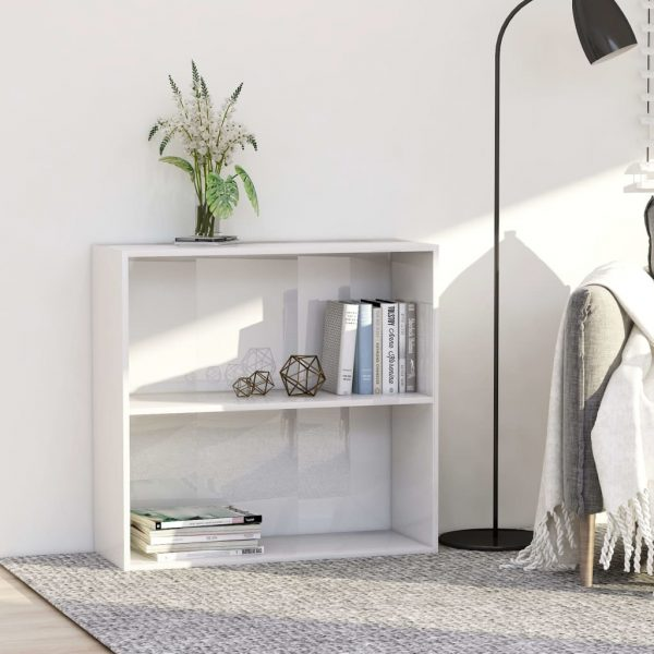 2-Tier Book Cabinet High Gloss White 80x30x76