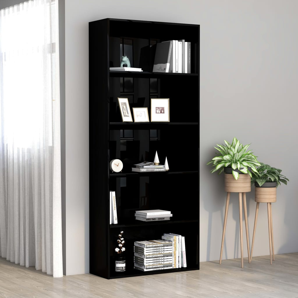 5-Tier Book Cabinet High Gloss Black 80x30x189 cm Chipboard
