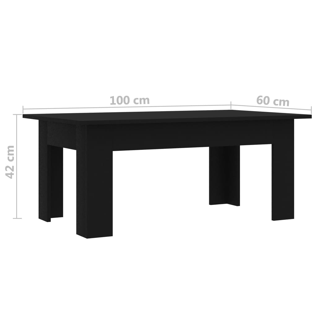 Coffee Table Black 100x60x42 cm Chipboard 6