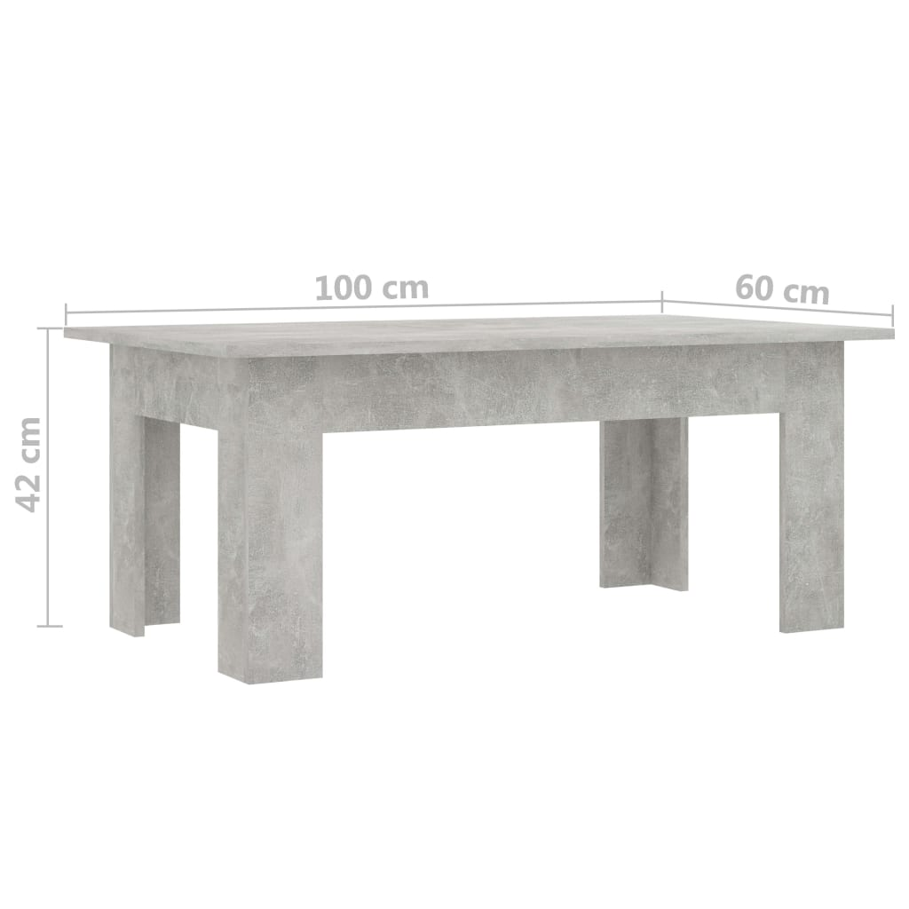 Coffee Table Concrete Grey 100x60x42 cm Chipboard 6