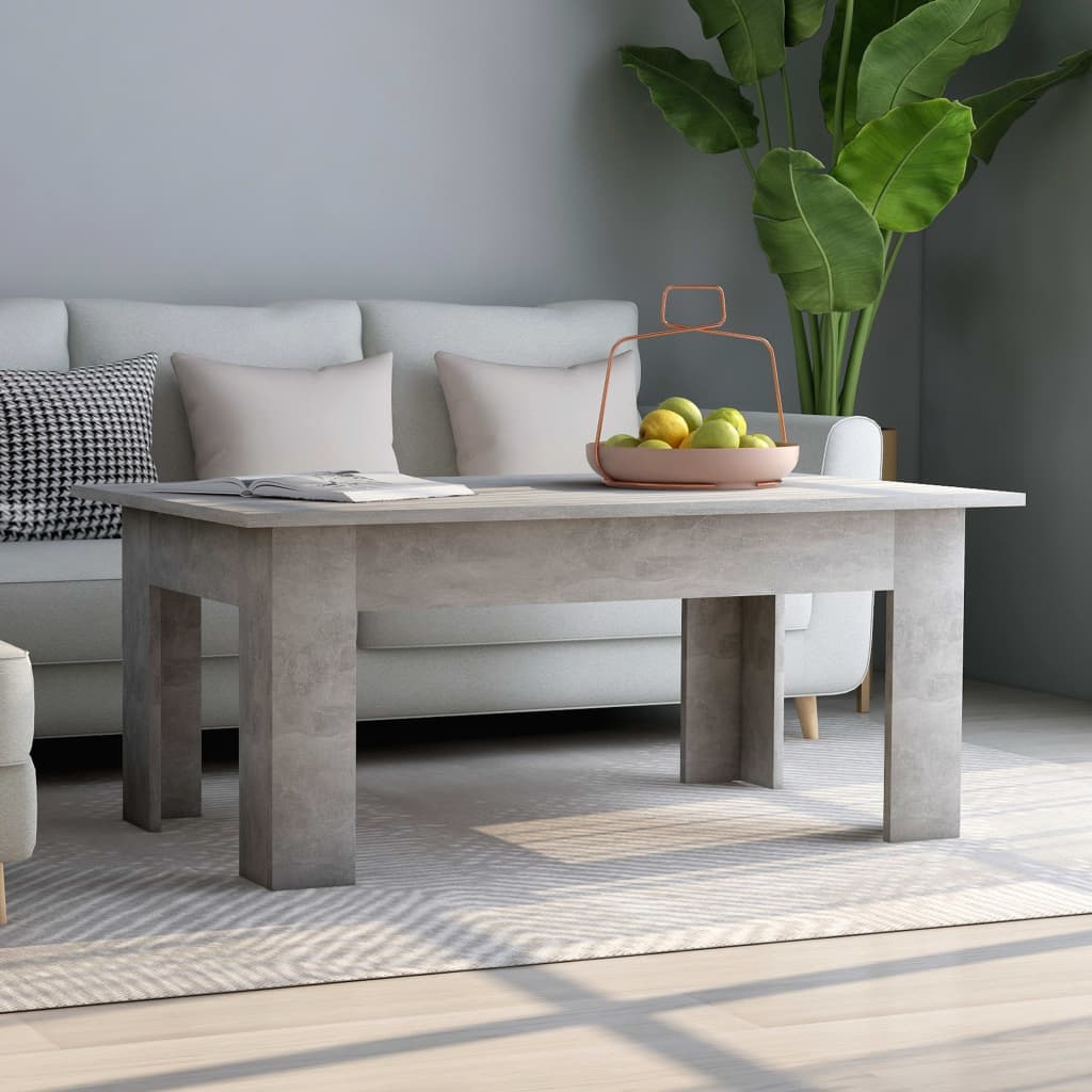 Coffee Table Concrete Grey 100x60x42 cm Chipboard 1