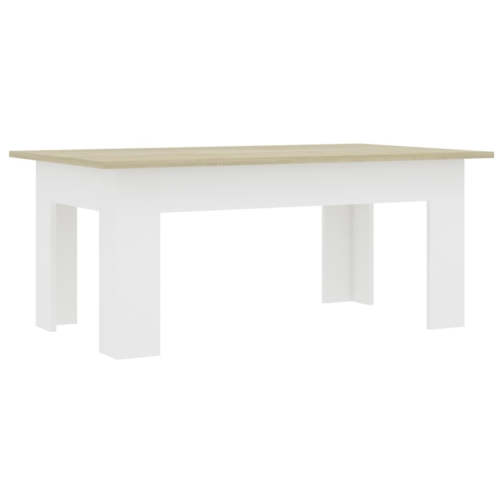 Coffee Table White and Sonoma Oak 100x60x42 cm Chipboard 2