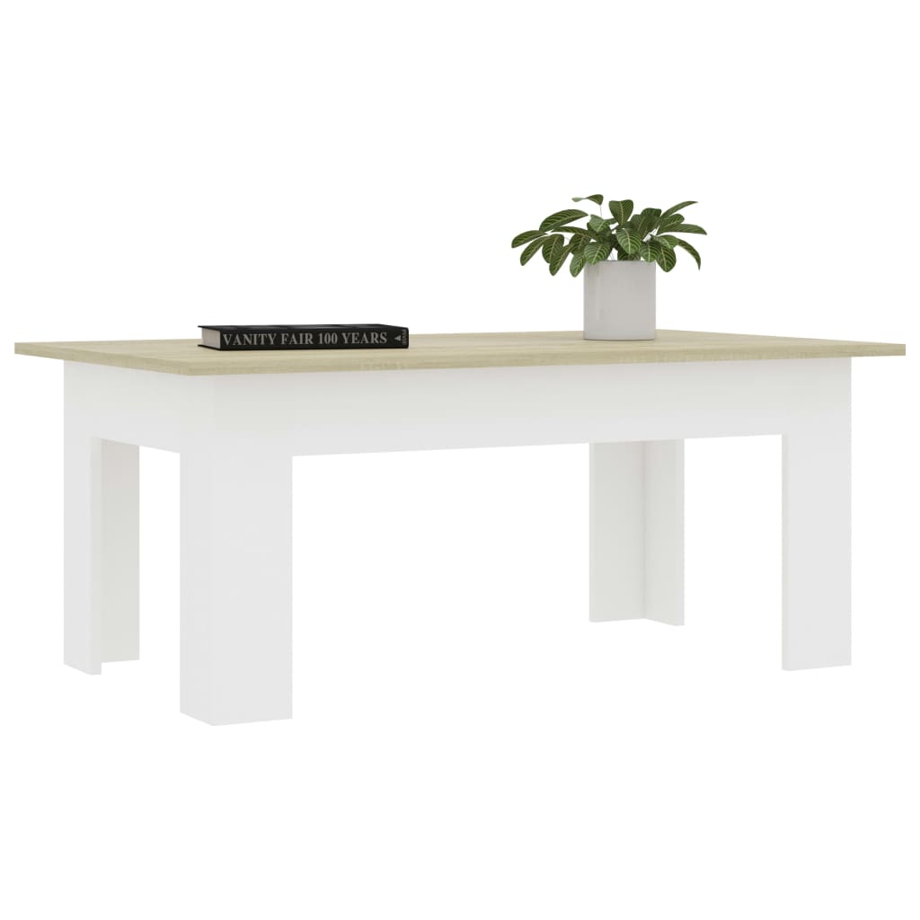 Coffee Table White and Sonoma Oak 100x60x42 cm Chipboard 3