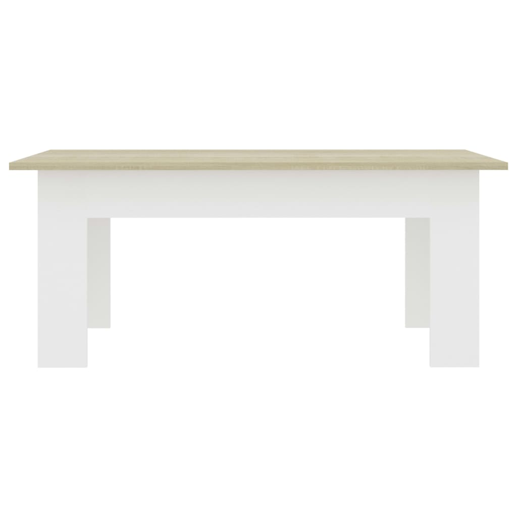Coffee Table White and Sonoma Oak 100x60x42 cm Chipboard 4