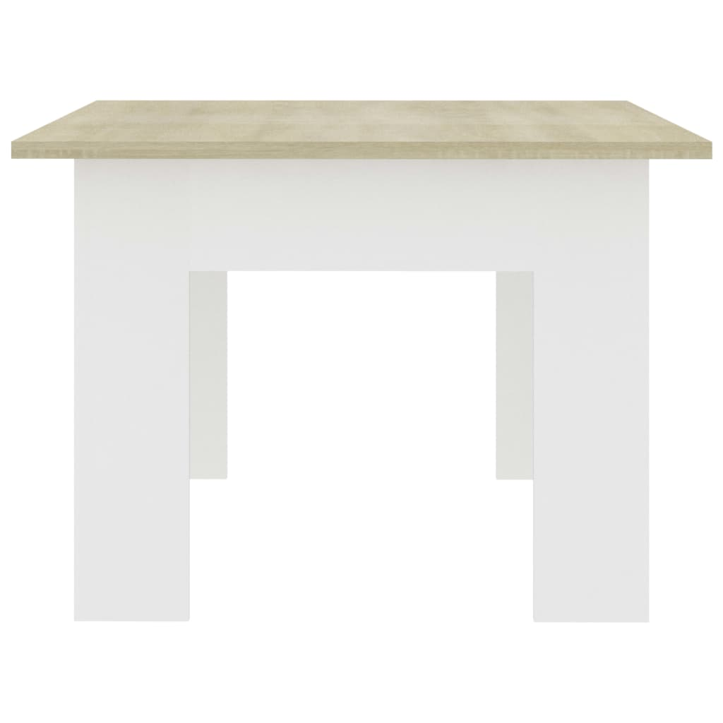 Coffee Table White and Sonoma Oak 100x60x42 cm Chipboard 5