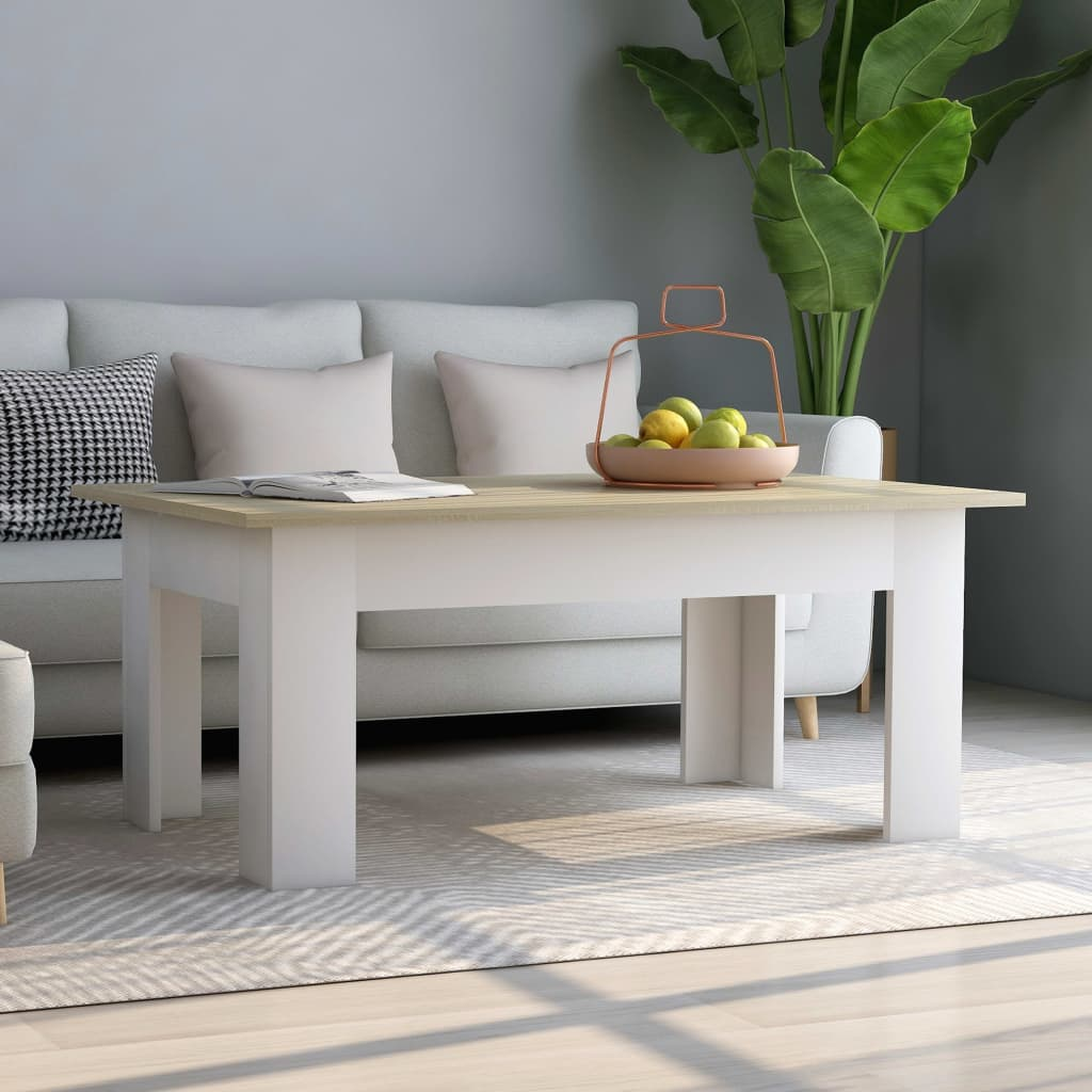 Coffee Table White and Sonoma Oak 100x60x42 cm Chipboard