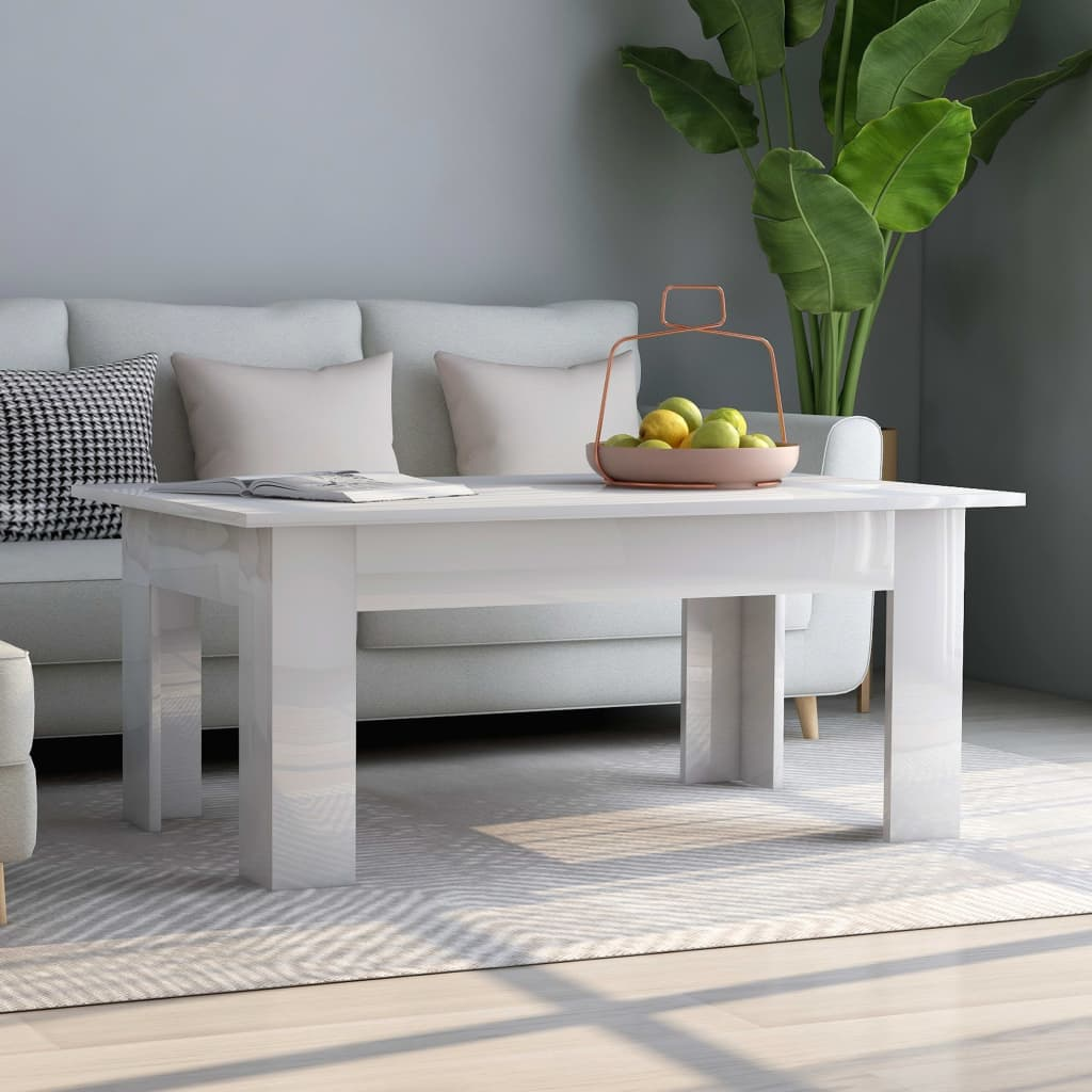 Coffee Table High Gloss White 100x60x42 cm Chipboard